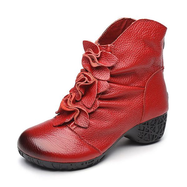 BVJ US$74.39 SOCOFY Retro Ankle Low Heel Floral Zipper Soft Leather Boots
