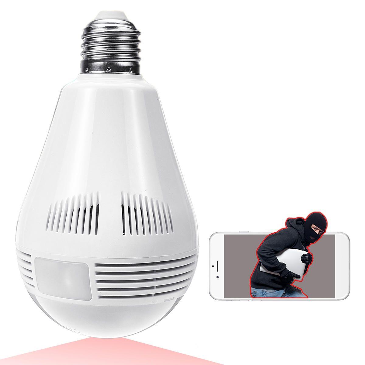 360° Panorama Fisheye IP Bulb Camera Lamp CCTV Monitor Light Bulb WIFI Night Vision