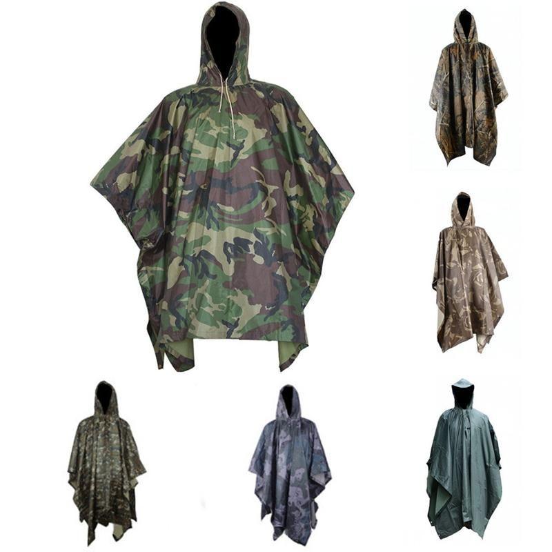 Multifunctional Camouflage Rain Coat Outdooors Travel Rain Coat Cycling Camouflage Poncho