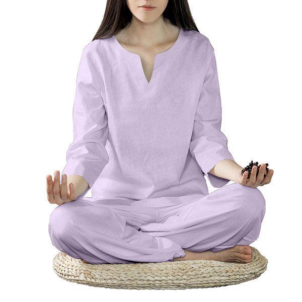 Women Yoga Suit Cotton Linen Meditation Clothing Set Lady Dance Fitness Clothes Sportswear