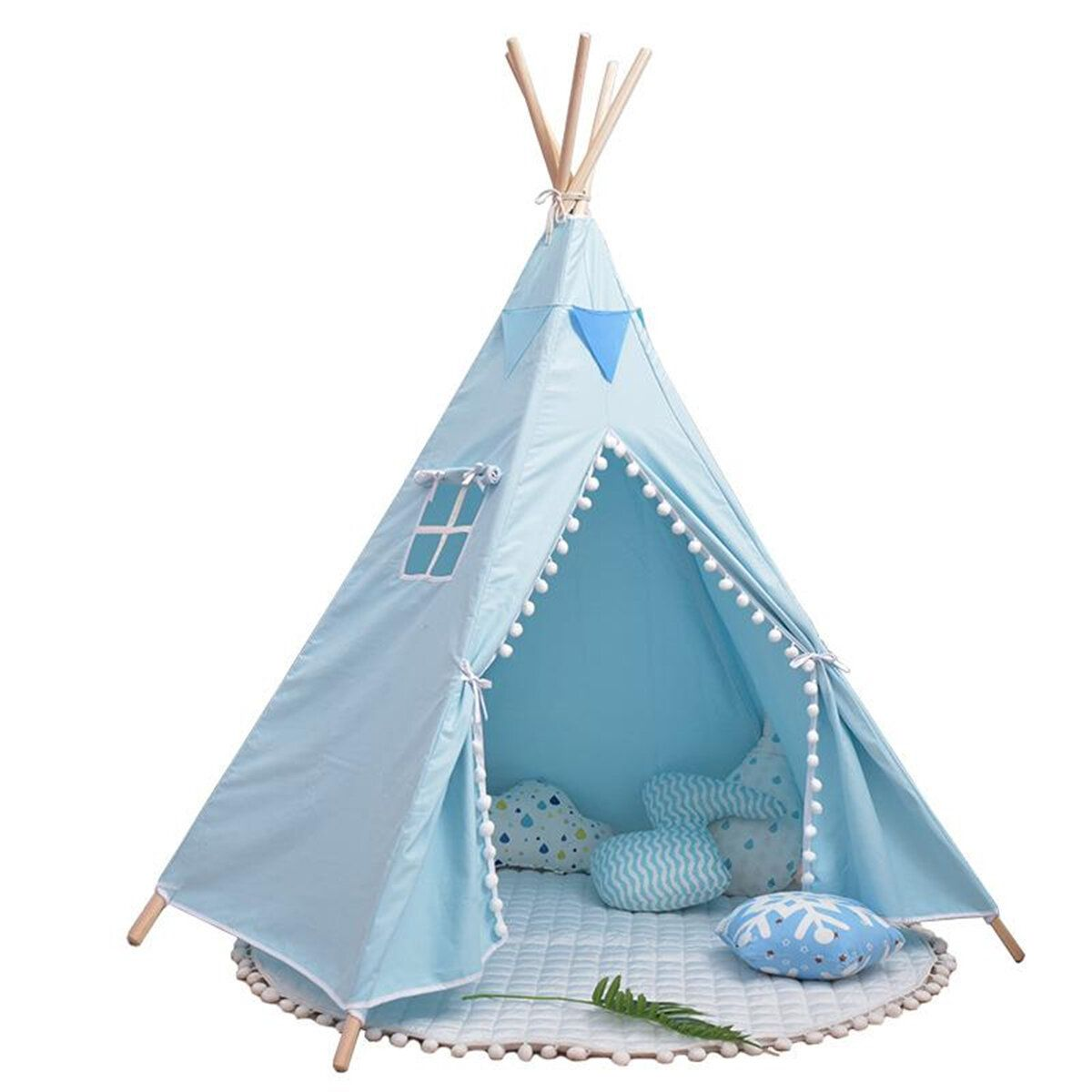 Children Portable Folding Tent Baby Game House With Fur Balls And Curtains Tent for Kid Walking Cushion