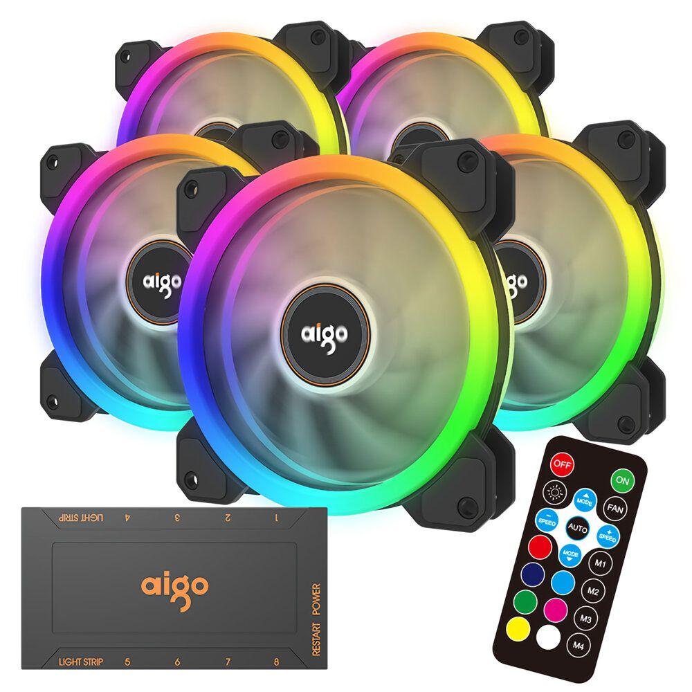 Aigo darkflash DR12 120mm RGB PC Case Cooling Fan LED Adjustable Color Quiet Remote Control Computer CPU Cooler Radiator 2019 Version