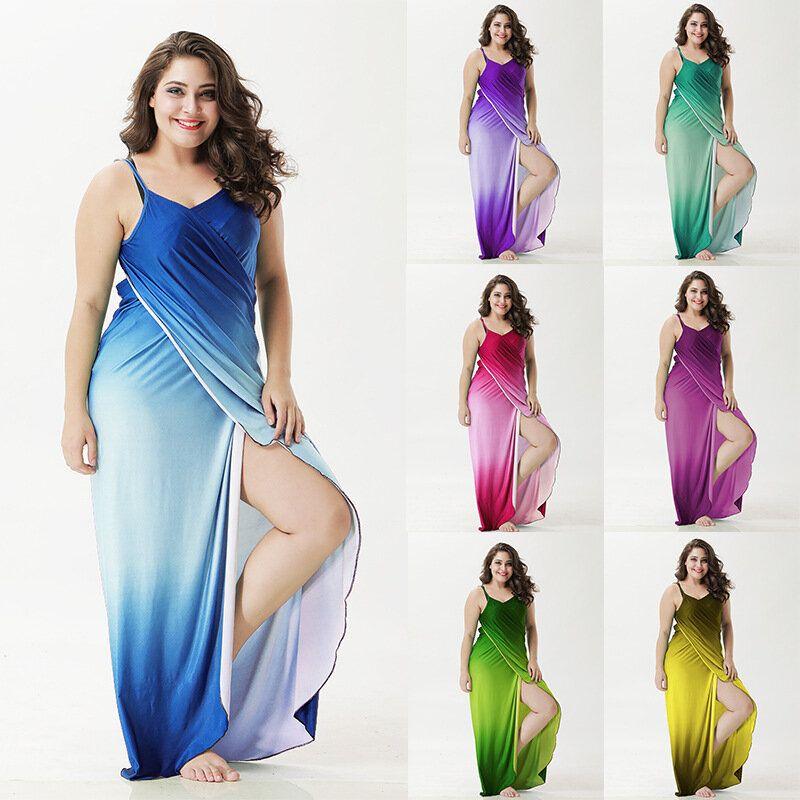 Sexy Women Gradient Long Beach Skirt Cover up Outdoor Sunscreen Sling Dress Sarong Wrap Shawl multi function Bath Towel