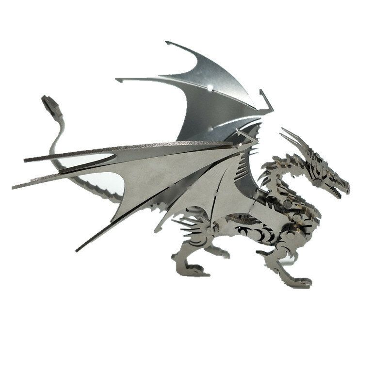 Steel Warcraft DIY 3D Puzzle Dragon Toys Stainless Steel Model Building Decor 16*5.3*14cm