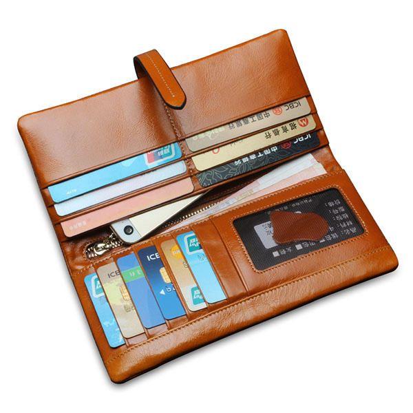 Men Womem Genuine Leather Couple Long Wallet Card Holder Pocket Handbag