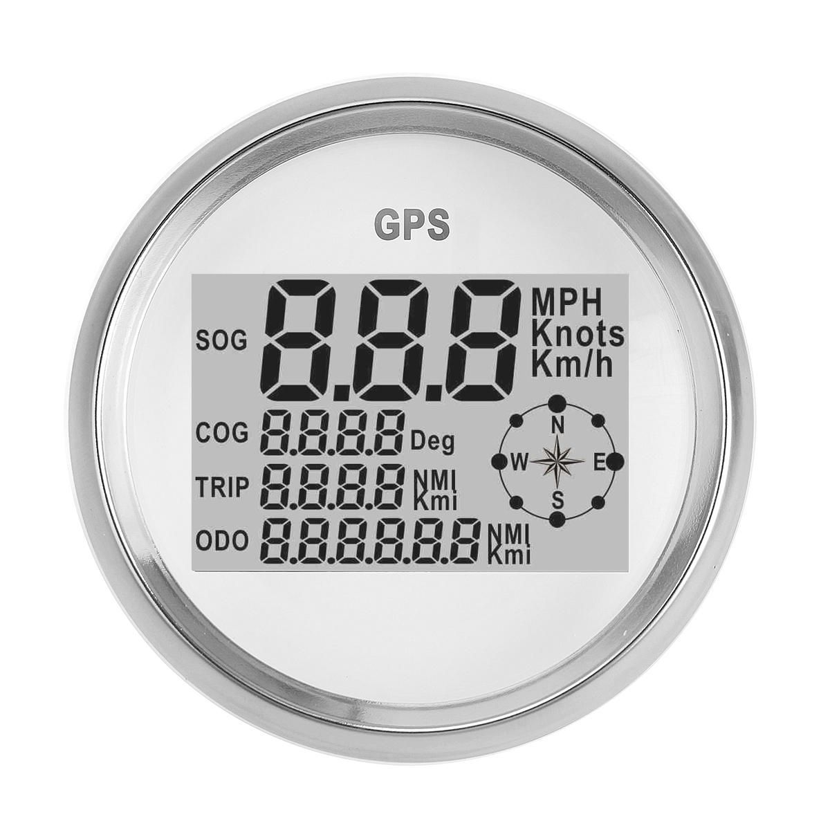 IDM US$69.14 90MM GPS Waterproof Speedometer Odometer Gauge Digital White For Car Truck Motorcycle