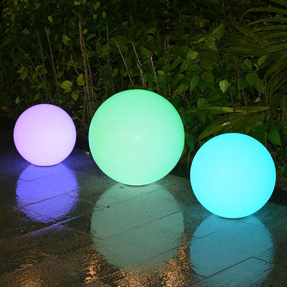 Solar Outdoor RGB LED Remote Waterproof Ball Garden Porch Landscape Pathway Night Light 30/35/40cm