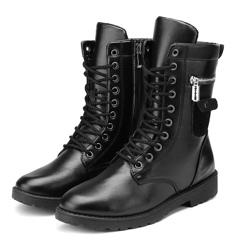 Men's Motorcycle Leather Boots Punk Studded Zipper Tactical Combat Mid Calf Military Shoes