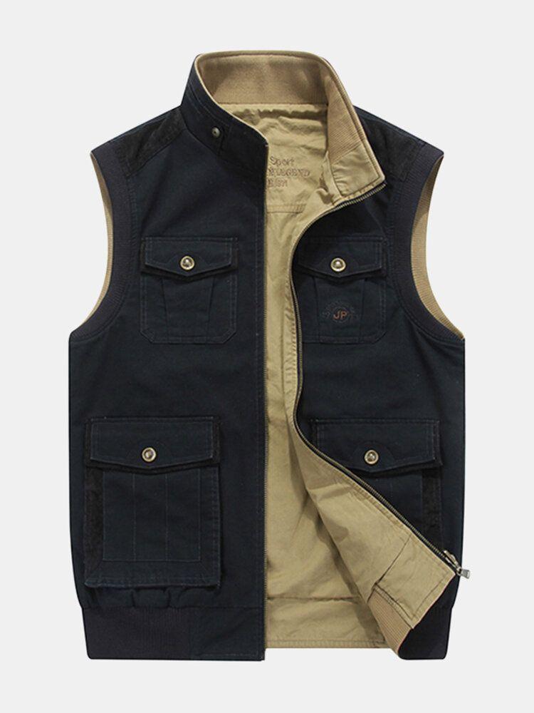 Mens Mutil Pockets Outdoor Travel Cotton Vest Plus Size
