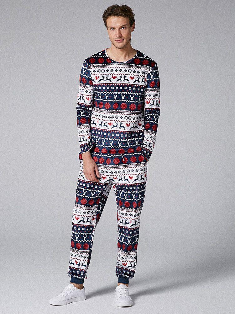 Mens Two Pieces O Neck Christmas Pajama Set