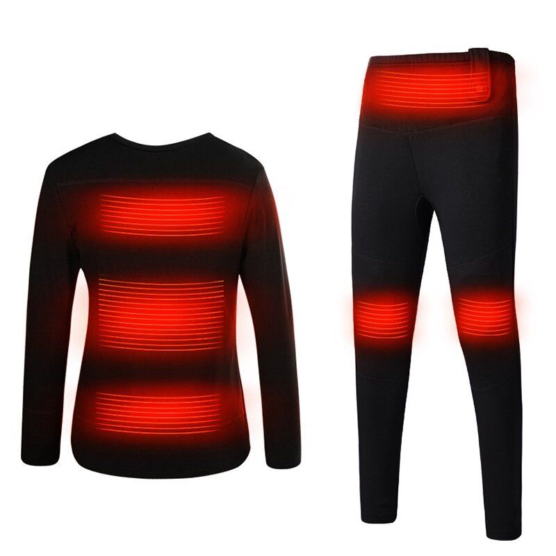 Men Women Electric Heated Underclothes Shirt + Trouser Outdoor Underwear Set Clothing Hiking Skiing Motorcycle Cycling Warm USB Thermal Winter Heating