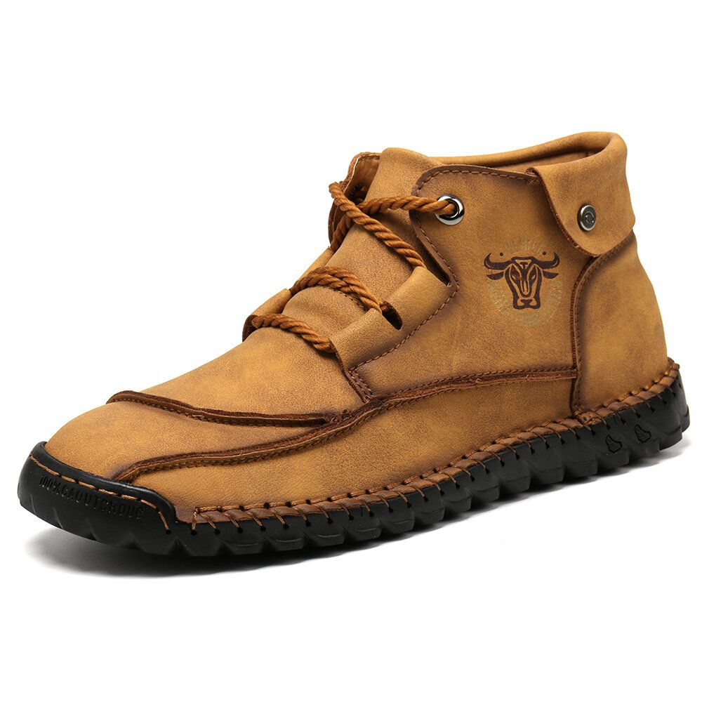 Menico Microfiber Leather Hand Stitching Casual Ankle Boots