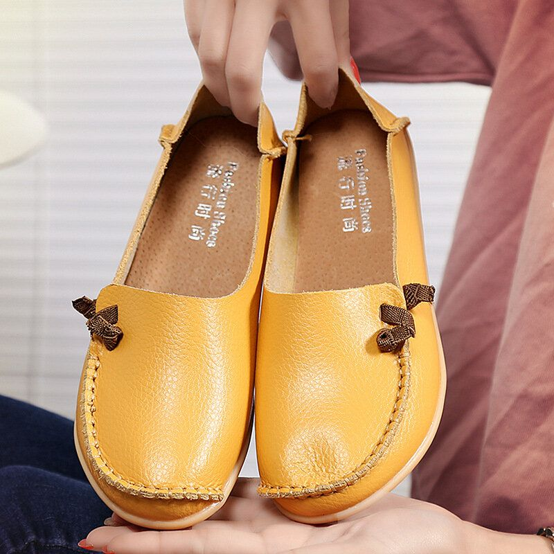 Large Size Soft Leather Multi Way Flat Loafers For Women