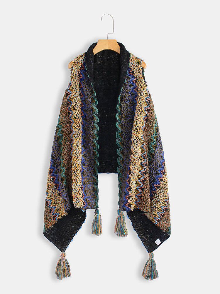 Plus Size Winter Sleeveless Cloak Vest Tassel Knit Cardigans