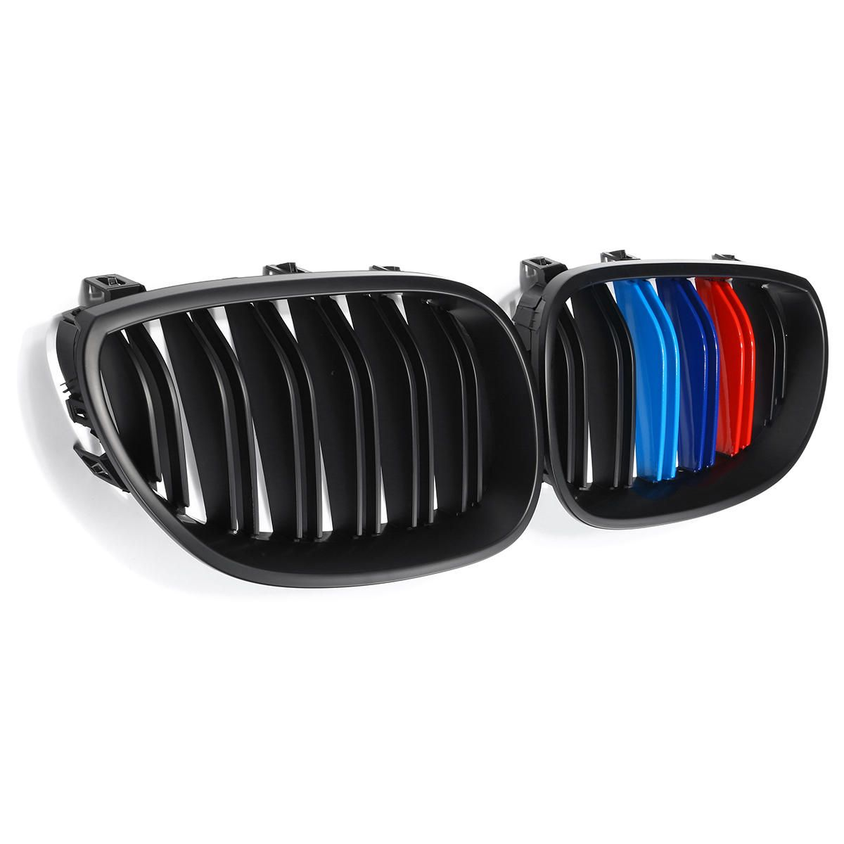 TAL US$48.46 Pair New Matte Black M-Color Front Kidney Grill Grille For BMW E60 2003-2010