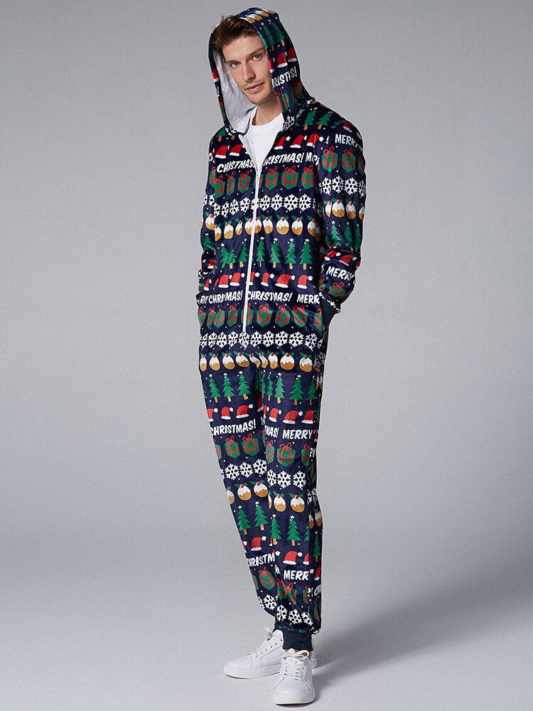 Mens Christmas Pattern Onesies Hooded Pajamas Set