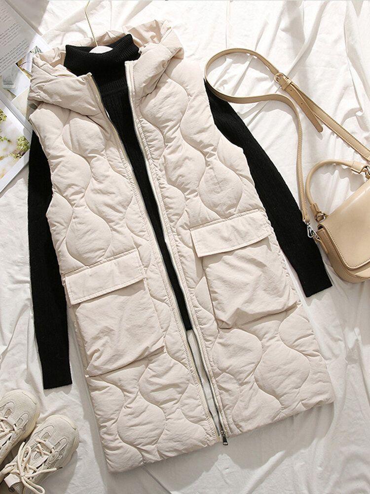 Women Sleeveless Turn down Collar Thick Vest Coats