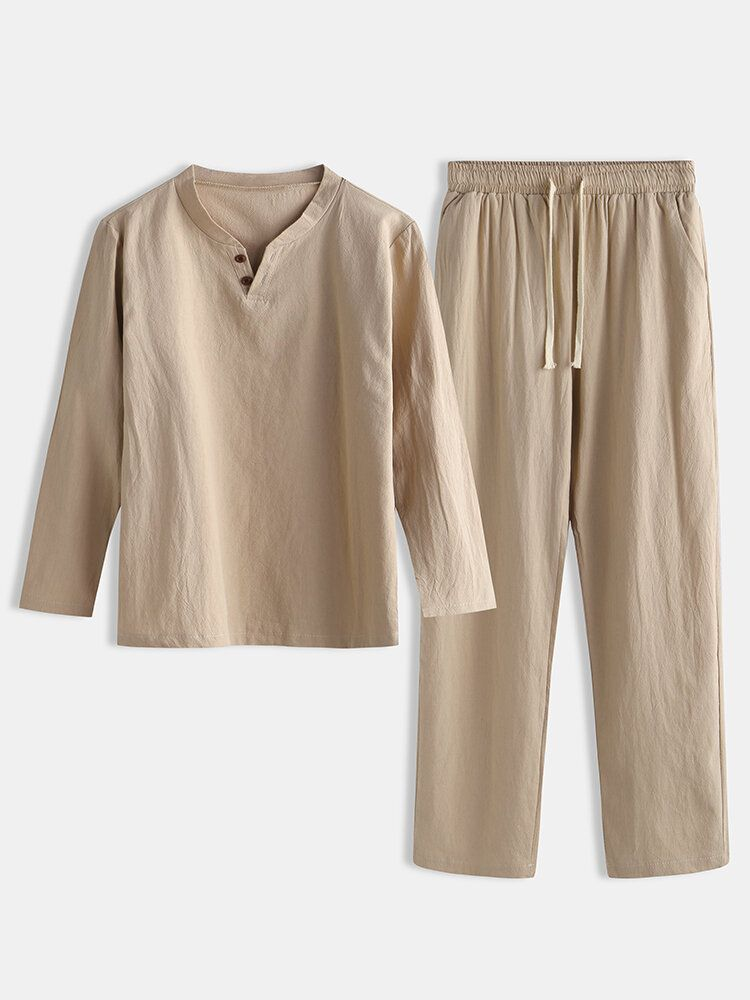 Men Linen Plain Pajama Set Chinese Style Plus Size Comfortable Home Loungewear With Pockets