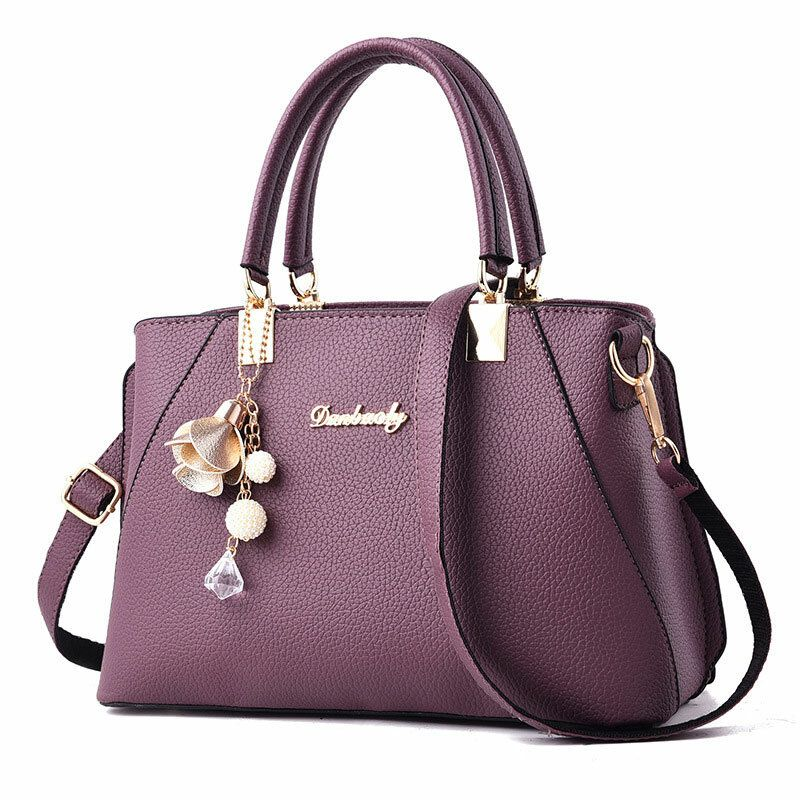 Womens Purses and Handbag Shoulder Bag Lichi Pattern Large Tote Bag Top Handle Satchel with Long String Decoration