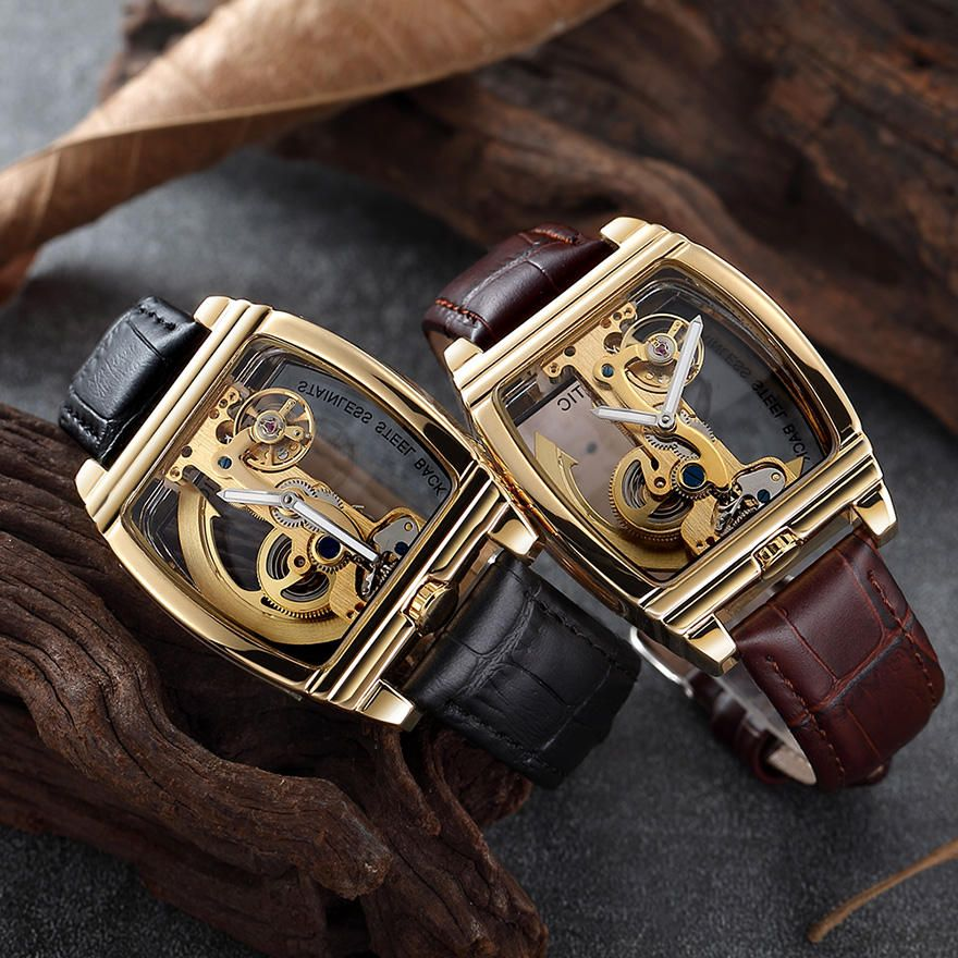 Deffrun Rectangle Automatic Mechanical Watch Genuine Leather Business Style Men Watches