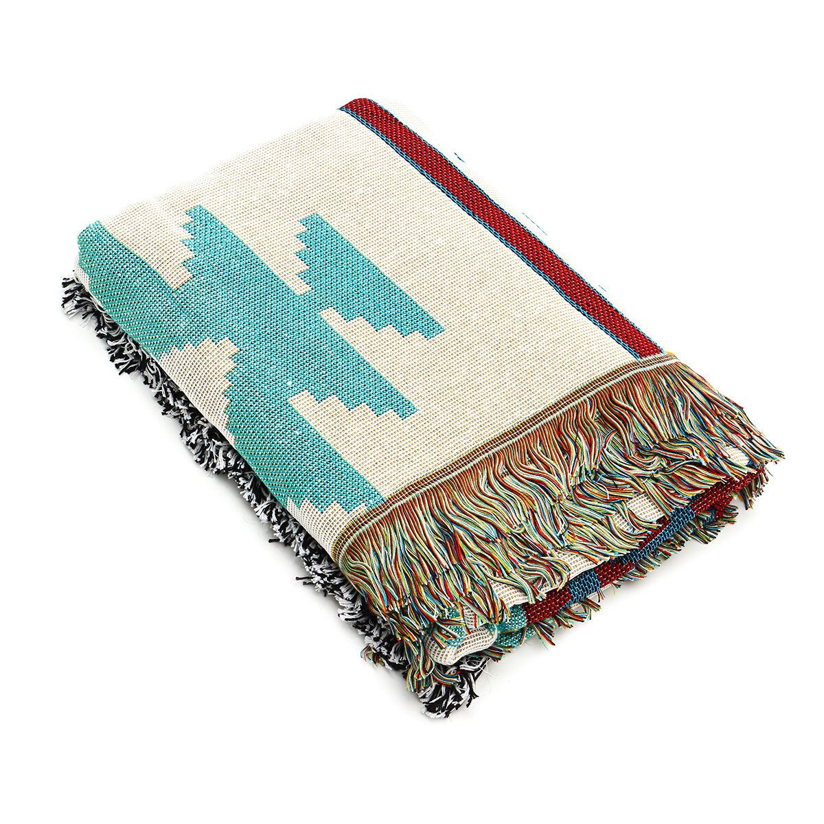 Retro Navajo American Style Geometric Popcap Upholstery Leisure Carpet Air Conditioning Sofa Blankets