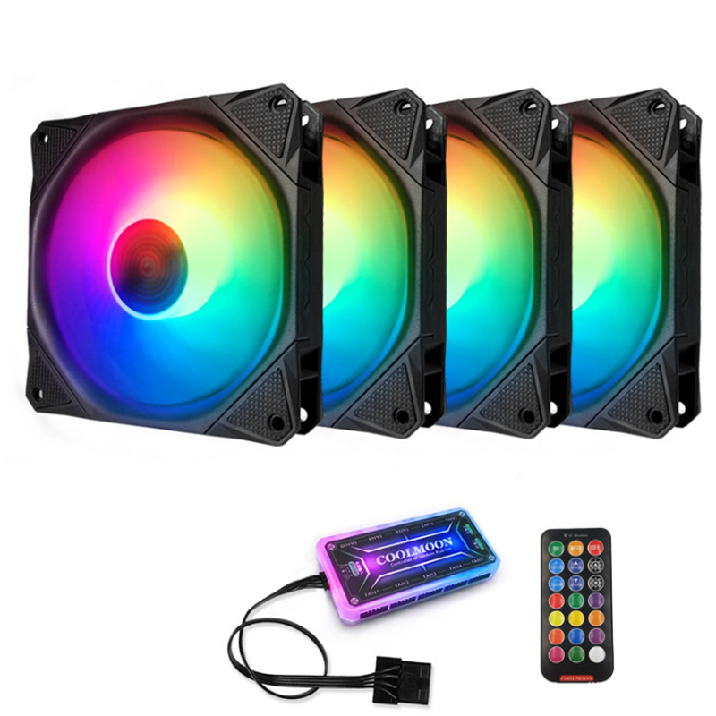Coolmoon 4PCS 12 Monochromatic Lights 120mm Adjustable RGB PC Fans Mute CPU Cooling Fan with the Remote Control