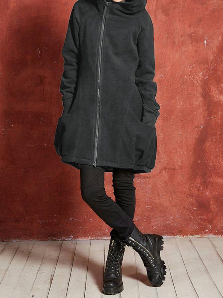 Women Solid Long Sleeve Hooded Coats