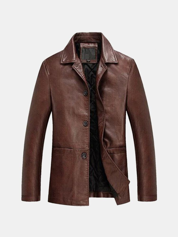 Plus Thick Single breasted Faux Leather PU Casual Blazers