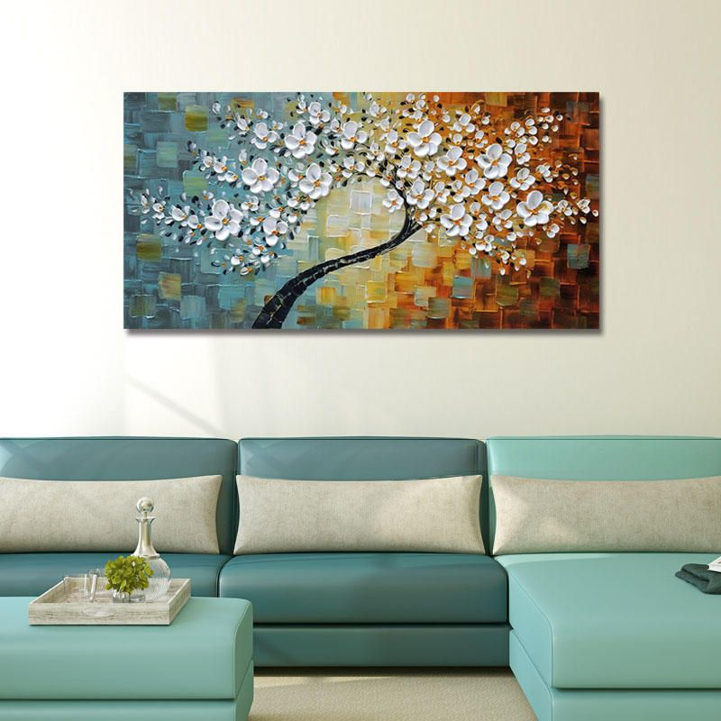 Hand Painted Oil Paintings Floral Modern Stretched Canvas Wall Art For Home Decoration Paintings