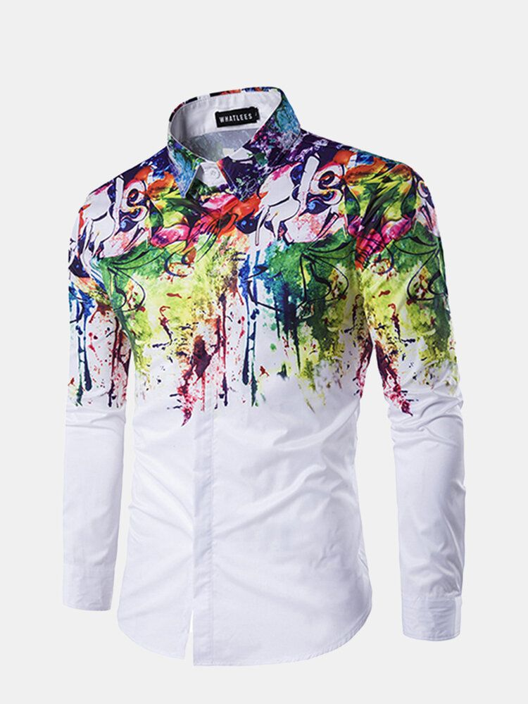 Flowers Splash ink Splashed Paint Printing Lapel Long sleeved Men Shirt