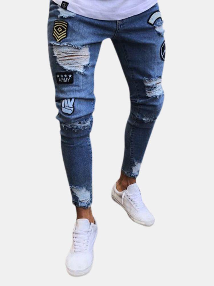 Stylish Hip Hop Ripped Skinny Jeans