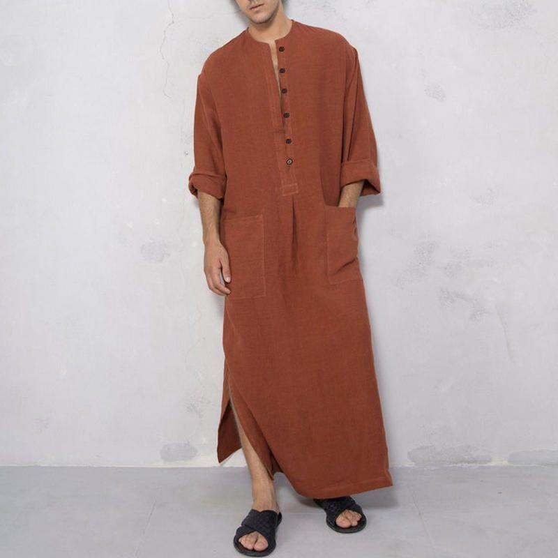 Men Cotton Dual Pockets Long Sleeve Vintage Kaftan Shirts