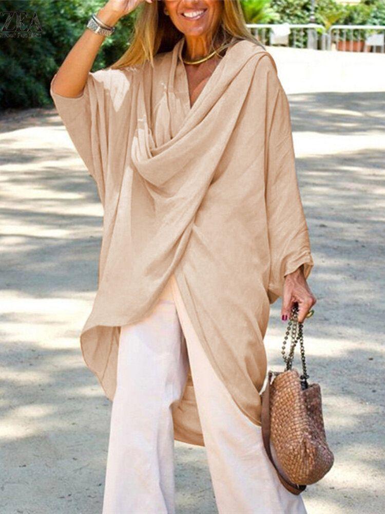 Women 3/4 Sleeve Irregular Loose Solid Color Turtleneck Blouse