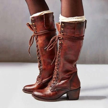 Women Plus Size Retro Lace Up Mid Calf Boots