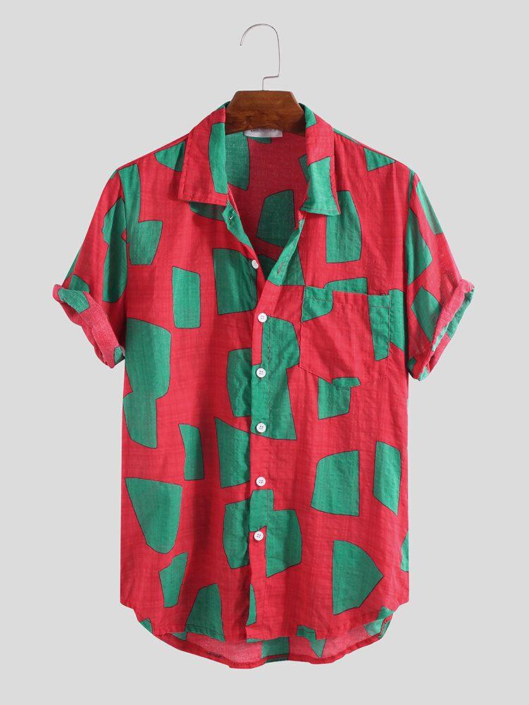 Mens Contrast Color Blocks Summer Fashion Printing Shirts
