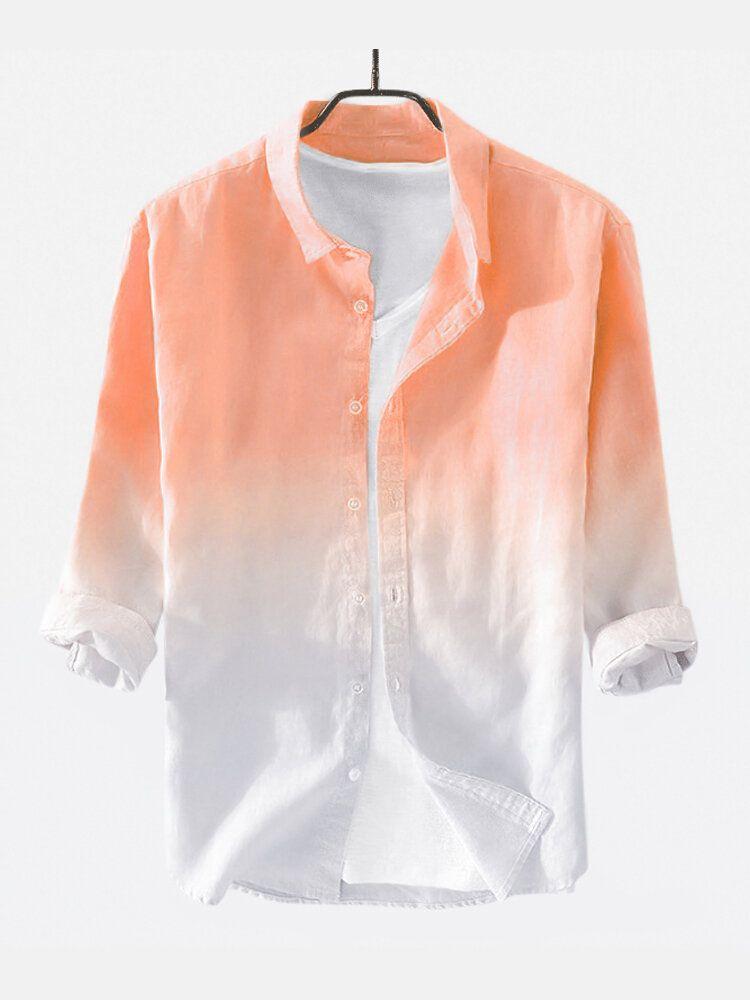 Mens Cotton Gradient Color Three Quarter Sleeve Casual Shirt
