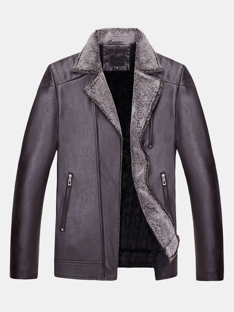 Mens Motorcycle Biker Thick Turn down Collar Coat Zipper Pockets PU Leather Jacket