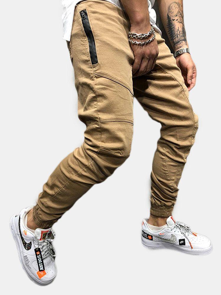 Mens Casual Drawstring Elastic Waist Cargo Pants