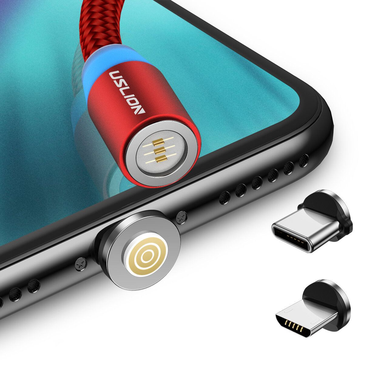 USLION 360 Degree Rotate Round Magnetic LED TPE Fast Charging 3A 1M Type C Micro USB Data Cable for Samsung S10+ Xiaomi Redmi Note8 HUAWEI P30Pro