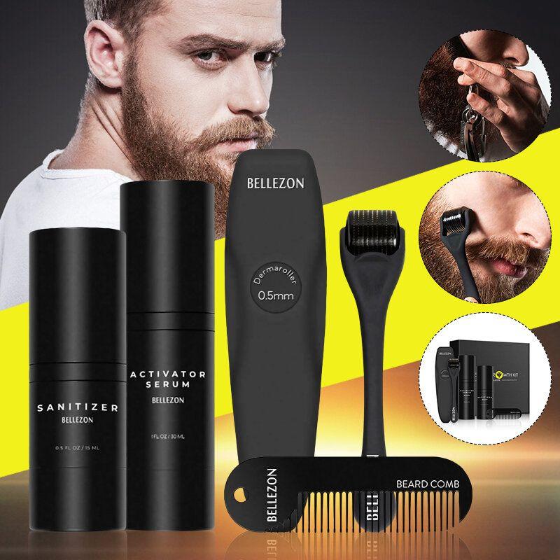 Men Oil Beard Mustache Growth Essential Oil Liquid + Beard Roller + Comb