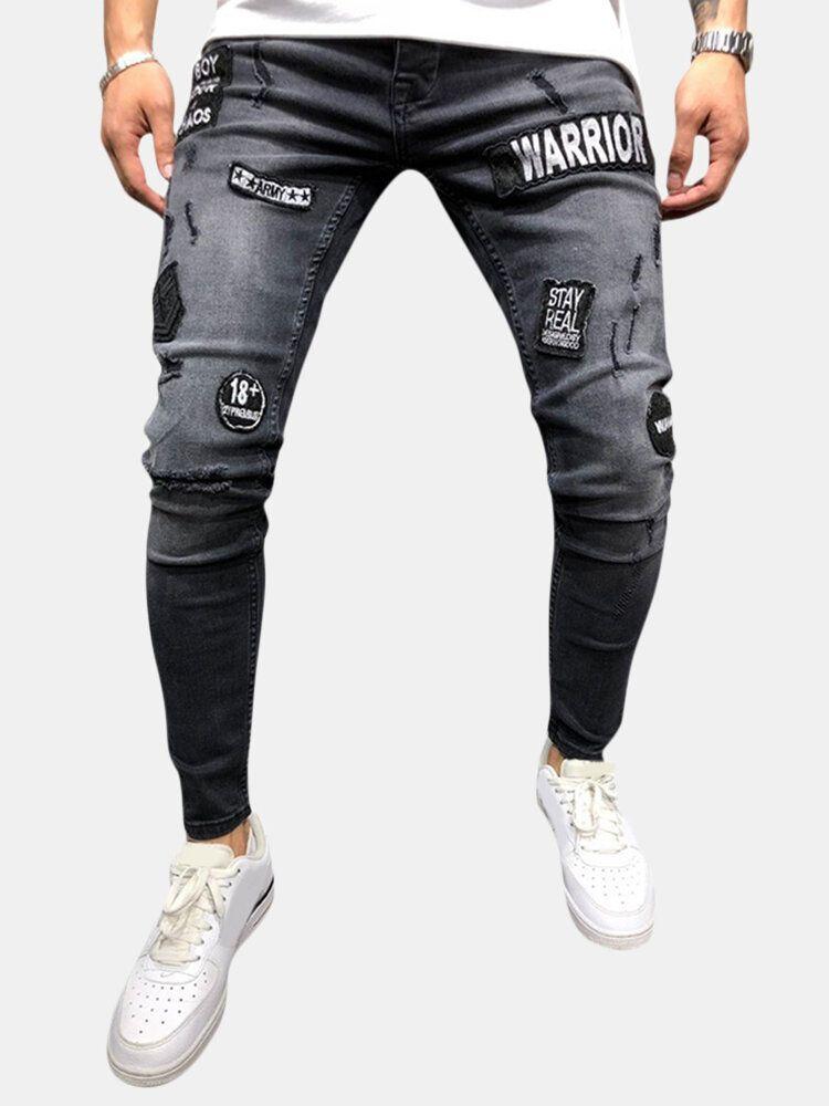 Mens Fashion Cotton Mid Waist Patchwork Jeans Denim Pants