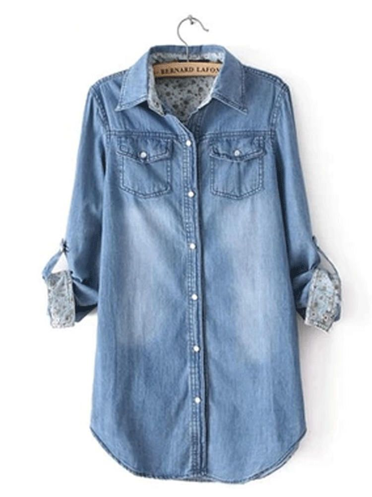 Long Sleeve Turn down Collar Denim Shirts