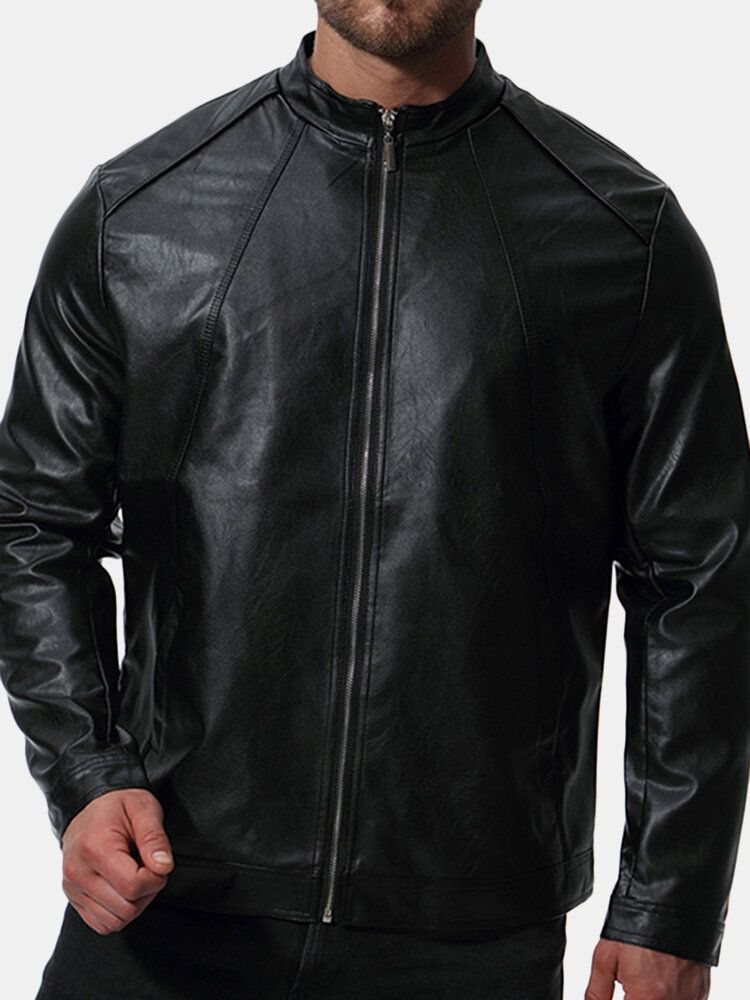 Mens Biker Stand Collar Stylish Faux Leather Black Jacket