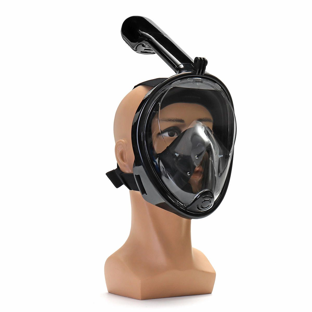 180° Viewing Area Full Dry Snorkeling Mask 185x150x188mm Fog Resistant Adjustment Diving Mask with a Camera Base