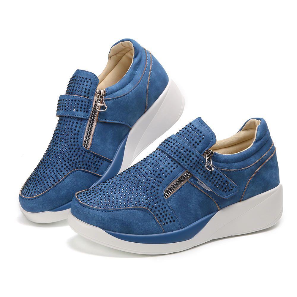 Women Mesh Hook Loop Zipper Wedges Casual Sneakers