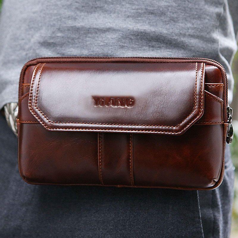 Men Genuine Leather Clutches Bag Belt Waist Phone Bag