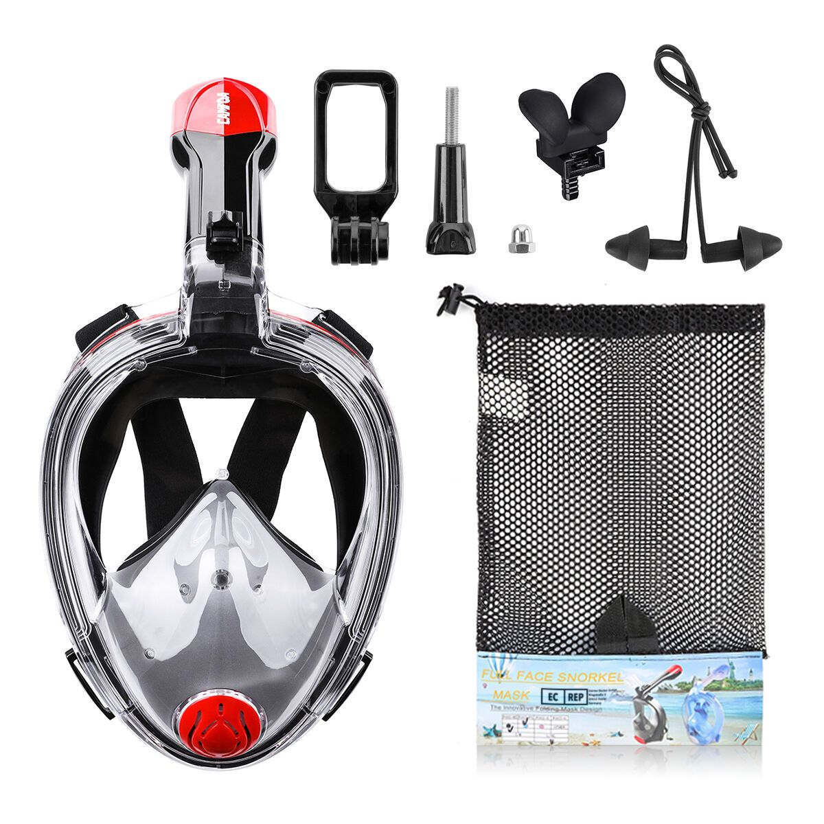 CAMTOA Foldable 180° Full Face Snorkeling Mask Anti fog Diving Respirator Mask with Detachable Camera Stand Net Bag