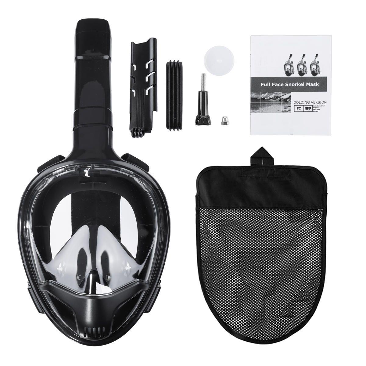 CAMTOA Diving Goggles Mask 180° Full Dry Coverage Respirator Mask Double Tube Anti fog Swimming Protector