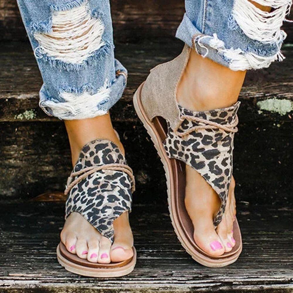 Women Roman Animal Grain Splicing Clip Toe Gladiator Sandals