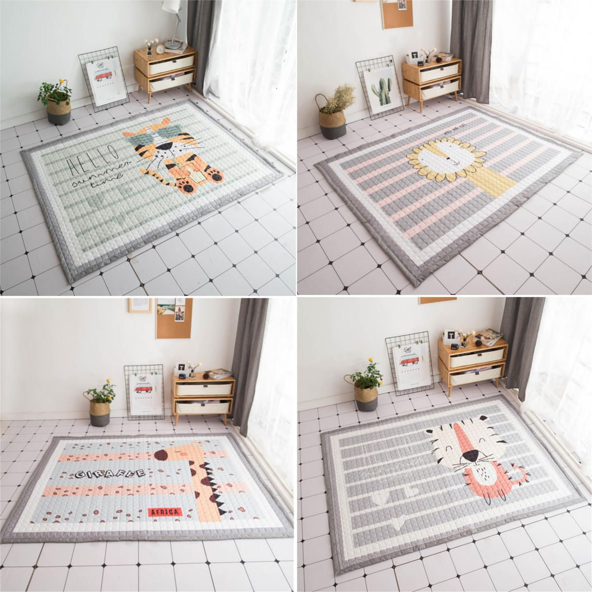 Polyester Baby Kids Animal Game Activity Baby Mat Carpet Non Slip Rug Non Anti Static Mat